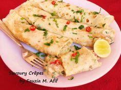 Savoury Crêpes - Fauzia's Kitchen Fun Sweet Crepes Recipe, Pancake Roll, Ramadan Recipes, Ramadan Food, Savory Crepes, Leftover Chicken Recipes, Snack Recipes, Cooking Recipes, Crepe Recipes