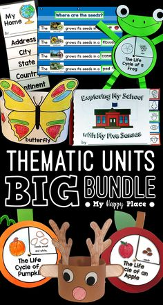 15 thematic units with PowerPoint presentations and activities to use throughout the school year in kindergarten and first grade! Life cycles, pumpkins, apples, American symbols, maps, five senses, and more! Kindergarten Social Studies, Kindergarten Science, Teaching Main Idea, Teaching Ideas, Seasons Worksheets, My Five Senses, American Symbols, Thematic Units, Beginning Of The School Year