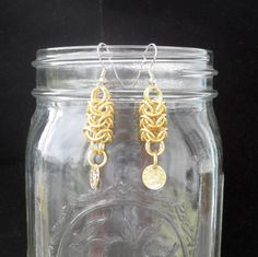 Astra - Gold Roundmaille Earrings with Coins. $10.00, via Etsy.
