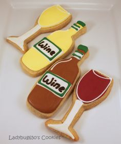 Wine bottle and wine glass cookies, handmade & iced - One dozen. $26.00, via Etsy.