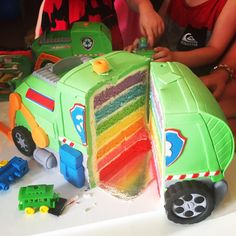 Rocky's recycling truck - rainbow cake layers