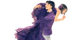 1boy 1girl ^_^ bangs bare_arms bare_shoulders black_eyes black_hair blush bow bowtie brown_hair carrying_over_shoulder…