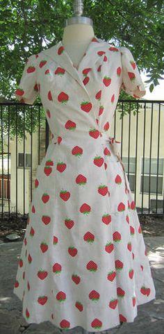 vintage wrap strawberry dress