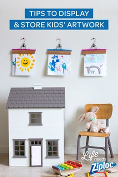 Great ideas for what to do with all the school artwork. Easy, cute ways to display all the after-school crafts and very fun and efficient ways to store the extras. Plus they make for great DIY crafts. Love the washi tape frames and rotating gallery wall with hangers and Ziploc® bags. Storing kids' artwork in a crafty box with their name is really smart too! No hurt feelings!
