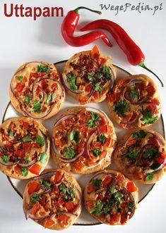 UTTAPAM - pyszne indyjskie placki ryżowo-soczewicowe z pomidorami i cebulą. Bardzo łatwe w wykonaniu, wyglądają jak minipizze. Clean Recipes, Cooking Recipes, Vegetarian Recipes, Healthy Recipes, Appetisers, Food Inspiration, Appetizer Recipes, Food And Drink, Yummy Food