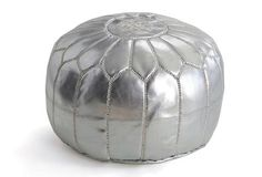Moroccan Pouf Silver- One Kings Lane