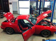 Stanced miata mx5 Cobra Suspension Coilovers Rotawheels, vx220 seats