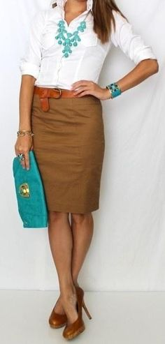 White collared button down. Brown high waisted pencil skirt. Caramel brown skinny belt. Turquoise accessories.