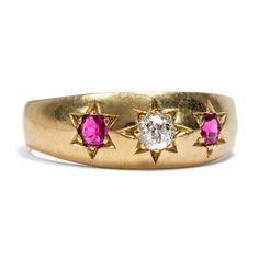 Gypsy Style - Schöner Gypsy-Ring mit Diamant & Rubinen, um 1890 von Hofer Antikschmuck aus Berlin // #hoferantikschmuck #antik #schmuck #Ringe #antique #jewellery #jewelry // www.hofer-antikschmuck.de