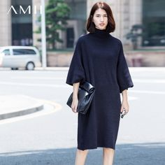 Office Wear Plus Size High Neck 1/2 Sleeves One Color Dress Sweater - OACHY The Boutique #sleeves, #dress, #size, #boutique, #wear