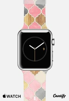 Pink, Gold & Wood Moroccan Apple Watch Band case by Micklyn Le Feuvre | Casetify
