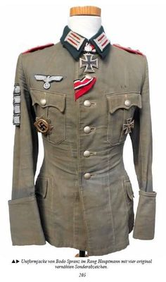 Bodo Spranz Hauptmann uniform Ww2 Uniforms, German Uniforms, Army Uniform, Cotton Leggings, Motorcycle Outfit, German Army, Military History, Military Fashion, Jacket Dress