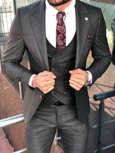 Slim-Fit Patterned Suit Vest Anthracite – brabion