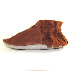 Soft Sole Suede Leather Baby Shoes Moccasins 18 to 24 by KaBoogie, $32.00