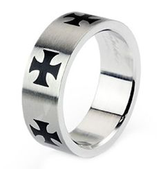 Black Iron Cross on Polished Aircraft Stainless Steel 8MM Wide Ring  Size 13 * Visit the image link more details.