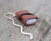 Miniature book bookmark, reclaimed leather bookmark, mini book charm, book mark, book jewelry for teacher librarian book lover reader brown