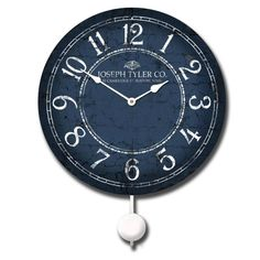 The Balton Clock comes with or without a pendulum. But I love the gentle swinging of a pendulum clock. This rich deep blue and crisp white clock is awesome! http://www.clocksaroundtheworld-com-j-tyler-clocks.html