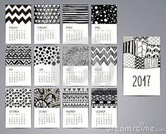 Calendario 2017 Modelli con i modelli disegnati a mano