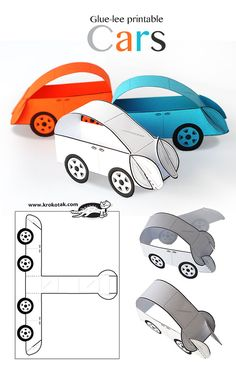 Glue-Lee printable cars art ideas crafts for kids, preschool crafts, crafts. Paper Crafts For Kids, Diy For Kids, Fun Crafts, Printable Paper Crafts, Paper Folding For Kids, Simple Crafts, Craft Activities, Preschool Crafts, Children Activities