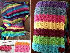 Rainbow Shell Crochet Blanket Free Pattern