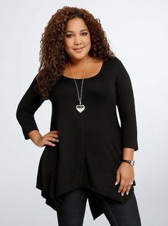 Plus Size Split Back Tunic Top, DEEP BLACK