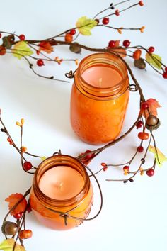 If youre among the camp that counts down the days until you can sip a classic pumpkin spice latte once again, these homemade candles are for you. Poured into orange-tinted mason jars, they throw off an especially autumnal glow in any area you might have in mind. #marthastewart #fall #falldecor #diyideas #diydecor