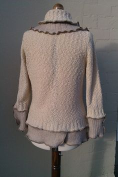 SALE!! Up-cycled clothing. Oatmeal and beige women's cardigan, jacket. Repurposed sweaters. Wool mix knitwear.