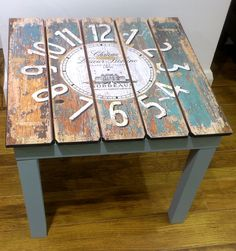 A gorgeous Wooden Clock I have Upcycled into a table painted with Chalk Paint by Annie Sloan in Duck Egg Blue at Rua Dublin