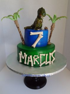 Dinosaur T Rex Birthday Cake. Everything handmade with fondant by me. By Little Hunnys Cakery