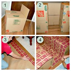 how to make a pretend fireplace for christmas | Step 1 : Tape all 4 18×18 boxes up, leaving one flap open, like this: