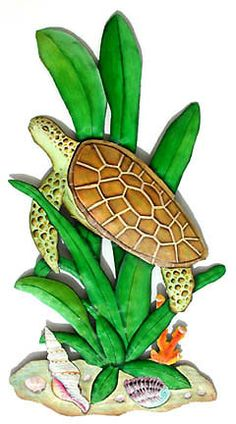 """TROPICAL DECOR - Beautifully Hand Painted Metal Sea Turtle Wall Hanging - 11"""" x 20""""  - www.TropicAccents.com"""