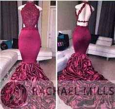 2017 Mermaid Backless Prom Evening Dresses Sexy High Neck Lace Major Ruffled Formal Celebrity Gowns Dress Party Prom Dresses Beaded Formal Evening Gown Mermaid Evening Gowns Online with $160.0/Piece on Magicdress2011's Store | DHgate.com