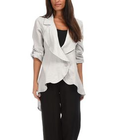 Another great find on #zulily! Light Gray Tie-Back Hi-Low Linen Jacket #zulilyfinds