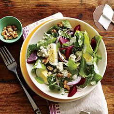 Kale and Beet Salad with Blue Cheese and Walnuts | Cooking Light #myplate #veggies #fruit #dairy