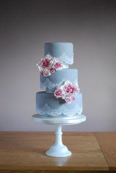 Vintage grey cake - Cake by Emma Stewart