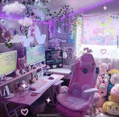Cute Room Ideas, Cute Room Decor, Gamer Room, Pc Gamer, Gaming Room Setup, Pc Setup, Kawaii Bedroom, Cool Kids Rooms, Video Game Rooms