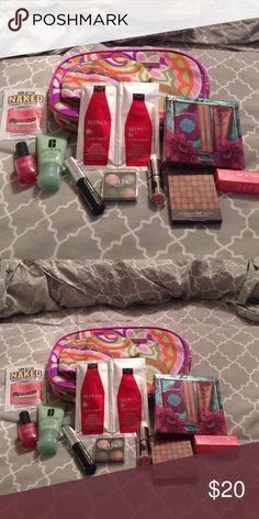 Grab bag of makeup samples Grab bag of makeup samples. Clinique makeup bag, Clinique high impact mascara, Clinique 7 day scrub cream, benefits hoola zero tanlines, bare minerals pop of passion lip oil balm pink passion, bare minerals ready bronzer, buxom lip stick, ulta natural eyeshadow quad, ulta nail polish, redken color extend shampoo and conditioner, and look better naked soap & glory the righteous butter. Clinique Makeup
