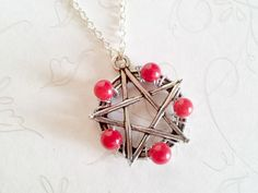 Pentacle Protection Necklace in Red Sea Coral Hand Crafted by Isis Creations ~Wiccan, Pagan, Spiritual Healing Gift Idea 4 Samhain & Yule by IsisCreationz on Etsy