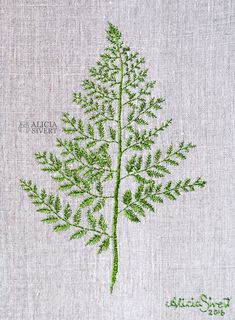 Fern leaf embroidery by Alicia Sivertsson, Hand Embroidery Stitches, Hand Embroidery Designs, Embroidery Applique, Cross Stitch Embroidery, Embroidery Patterns, Embroidery For Beginners, Embroidery Techniques, Swedish Embroidery, Brazilian Embroidery