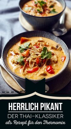 Thermomix recipe: Coconut soup Tom Kha Gai - Perfect for dinner - Hamburger Meat Recipes, Sausage Recipes, Crockpot Recipes, Curry Recipes, Soup Recipes, Vegetarian Recipes, Dinner Recipes, Vegetable Soup Healthy, Coconut Soup