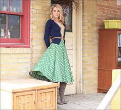 Green Polka Dot skirt : Mikarose Fashion, Reinventing Modest Fashion