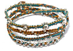 Irish Waxed Linen and Sterling Silver Beaded Wrap Bracelet- Jewelry by Leandra (It's a Wrap) Teal, Butterscotch, Brown. $72.00, via Etsy.