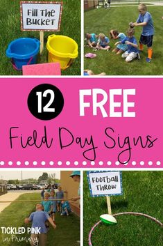 Field Day Games with 12 FREE Signs 12 FREE field day signs along with ideas for activities to do to entertain your students for the end of the year.