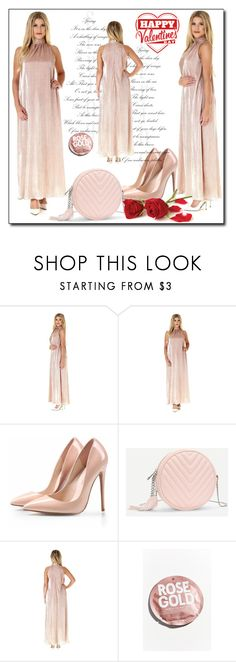"""Pleated Rose Gold High Neck Halter Front- Back Maxi Dress Open Shoulders Ankle Length"" by fatimka-becirovic ❤ liked on Polyvore featuring Urban Outfitters"