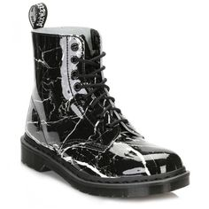 Dr Martens Womens Black Patent Marble Pascal Boots ($120) ❤ liked on Polyvore featuring shoes, boots, patent lace up boots, black shoes, lace up boots, black laced shoes and patent leather lace up boots