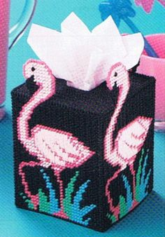 Free Plastic Canvas Coaster Patterns | TROPICAL TREAT Flamingo Tissue Topper PLASTIC CANVAS by M2Hawk