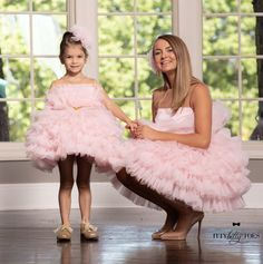 Mommy And Me Dresses, Mommy And Me Outfits, Girls Dresses, Gold Dress, Tulle Dress, Pink Dress, Baby Frocks Designs, Couture Outfits, Frock Design