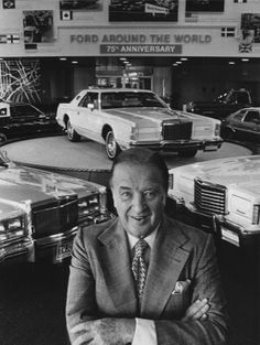 Ford Motor Company press photo from June 1, 1977, featuring Henry Ford II and the Lincoln Mark V on the platform in the background. Also pictured are the Thunderbird, Lincoln Versailles, Pinto, Ford Pickup and LTD II further back.