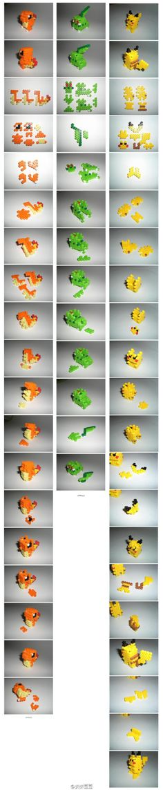 3D Pokemon Perler Bead Characters (Charmander, Gulpin? Pikachu) #Perler
