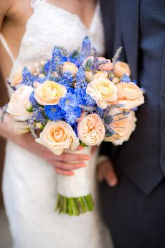 Peach + blue bouquet idea - muscari, lavender, Juliet roses, thistle, hypericum berries + delphinium {Honey Photographs by Alyss}